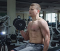 Athlete in the gym Royalty Free Stock Photo
