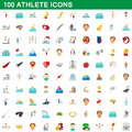 100 athlete icons set, cartoon style