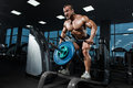 Athlete muscular bodybuilder in the gym training back Royalty Free Stock Photo