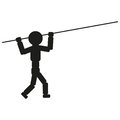 Athlete with pole for jump illustration sign. Vector. Black icon on white background. Royalty Free Stock Photo