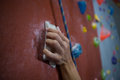 Athlete practicing rock climbing in fitness studio Royalty Free Stock Photo