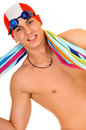 Athlete, swimmer towel Stock Photo