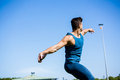 Athlete about to throw a discus Royalty Free Stock Photo