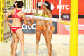 Athlete from usa greet in country quota moscow june at tournament grand slam of beach volleyball on june moscow russia Royalty Free Stock Photo