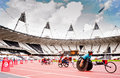 Athletes in the London olympic stadium Stock Photos