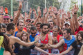 Athletes taking part in deejay ten running event organized by deejay radio in milan italy october take through the city streets on Stock Images