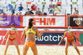 Athletes from usa look through net moscow june in country quota at tournament grand slam of beach volleyball on june in moscow Stock Images