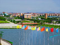 Athletes Village flags Royalty Free Stock Photography