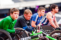 Athletes on wheelchairs in London 2012 stadium Royalty Free Stock Image