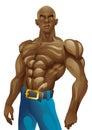 Athletic bald black man posing