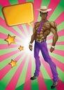 Athletic black man with sunglasses on retro background