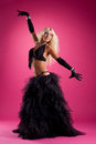 Athletic blond woman posing in east style costume Royalty Free Stock Photos