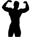 Athletic bodybuilder pose double biceps