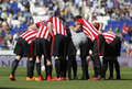 Athletic club bilbao players before a spanish league match against rcd espanyol at the power stadium on april in barcelona spain Stock Image