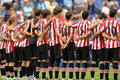Athletic club bilbao team in silence minute before a spanish league match between rcd espanyol vs at the estadi cornella on Stock Images