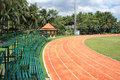 Athletic curved running track Royalty Free Stock Image