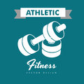 Athletic fitness over blue background vector illustration Stock Photo