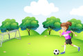 An athletic girl playing soccer illustration of Royalty Free Stock Images