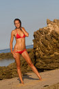 Athletic girl in red bikini Royalty Free Stock Images