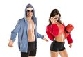 Athletic man and woman men women after fitness exercise Stock Photos
