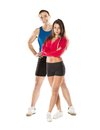 Athletic man and woman men women after fitness exercise Royalty Free Stock Image