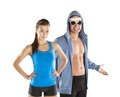 Athletic man and woman men women after fitness exercise Stock Photo