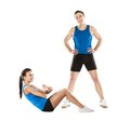 Athletic man and woman men women after fitness exercise Royalty Free Stock Photography