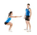 Athletic man and woman men women after fitness exercise Royalty Free Stock Images