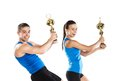 Athletic man and woman men women after fitness exercise Stock Photography