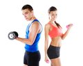 Athletic man and woman men women before fitness exercise Royalty Free Stock Image