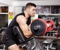Athletic man working his arms at the preacher curl bench Royalty Free Stock Photo