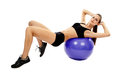 Athletic woman doing abs attractive young on the fitball isolated on white background Royalty Free Stock Photography