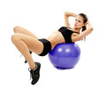 Athletic woman doing abs attractive young on the fitball isolated on white background Royalty Free Stock Images
