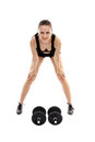 Athletic woman doing dumbbells young exercising with isolated on white background Royalty Free Stock Photography