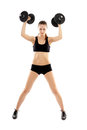 Athletic woman doing dumbbells young exercising with isolated on white background Stock Photo