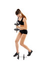 Athletic woman doing dumbbells young exercising with isolated on white background Stock Image