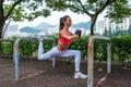 Athletic Woman Doing Single Le...