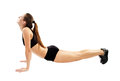 Athletic woman doing stretching young for back and legs isolated on white background Royalty Free Stock Photo