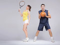 Athletic young couple training Royalty Free Stock Photo