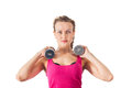 Athletic young woman with dumbbell Stock Photo