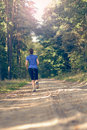 Athletic young woman jogging along a forest track in sportswear away from the camera in fitness and wellness concept Stock Photos