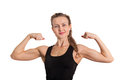 Athletic young woman showing biceps Stock Image