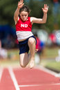 Athletics Long Jump Girl Flight Royalty Free Stock Photo