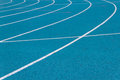 Athletics running track on the curve Stock Image