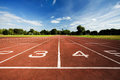 Athletics running track scenic view of an outdoors receding into the distance Royalty Free Stock Photo