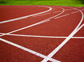 Athletics start track lanes of a red running racing Royalty Free Stock Photo