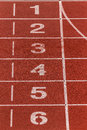 Athletics track lane numbers background Royalty Free Stock Photography