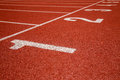 Athletics track lane numbers red Stock Images