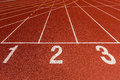Athletics track lane numbers red Stock Photo