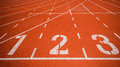 Athletics track with number Royalty Free Stock Images